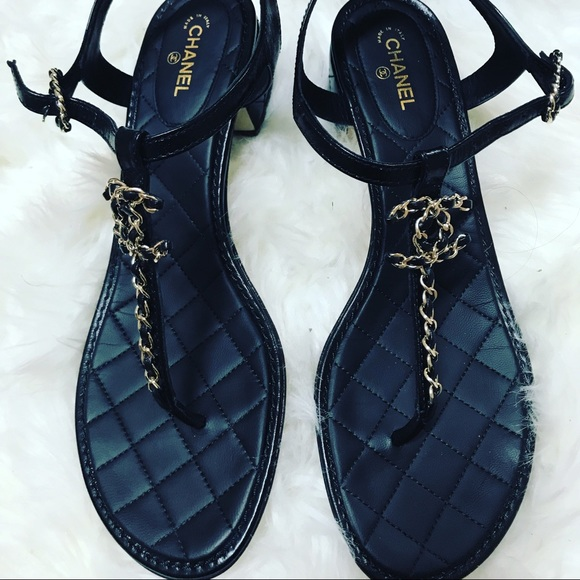 a66ff04286e8 CHANEL Shoes - Chanel CC chained thong sandal